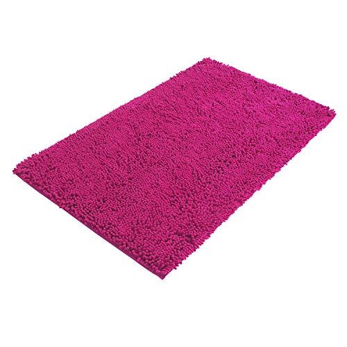 PANA Bologna Tapis de bain chenille en différentes couleurs • Tapis de bain en fibres douces – antidérapant & lavable • Tapis de bain antidérapant • Tapis de douche 60 x 100 cm • Couleur : fuchsia
