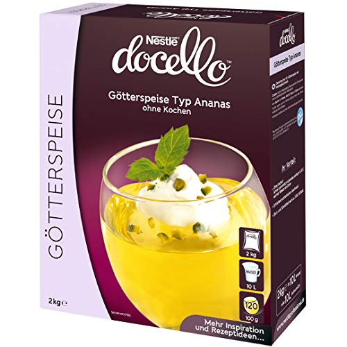 Nestlé docello Götterspeise Typ Ananas, ohne Kochen, Dessertpulver für Wackelpudding mit Ananasgeschmack, 1er Pack (1 x 2kg Faltschachtel)