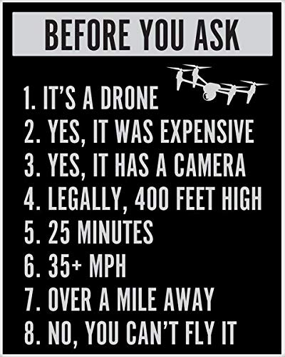 2 Pcs 8'x 12' Metal Sign Before You Ask Drone Funny Drone Poster