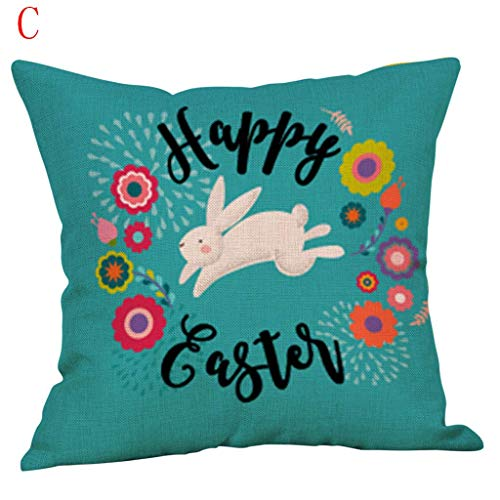 Nyfcc Sofa Pillow Protector Easter Sofa Bed Flax Pillowcase Festival Pillow Case Cushion Cover Decor Home Car Decorations in (Color : C, Size : -)