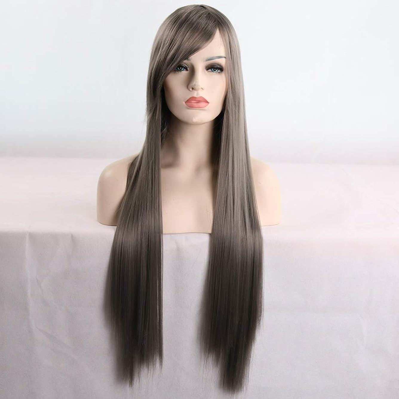 日焼け行き当たりばったりそれら女性用ロングナチュラルストレートヘアウィッグ31インチ人工毛替えウィッグハロウィンコスプレ衣装アニメパーティーウィッグ(ウィッグキャップ付き) (Color : Gray)