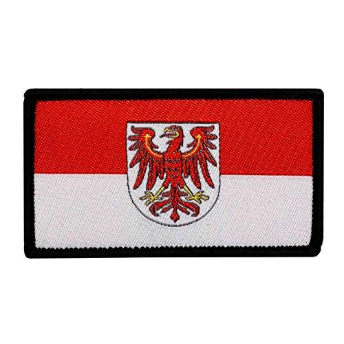 Café Viereck ® B&esland Patch Brandenburg Flagge Gewebt mit Klett - 7 x 4 cm