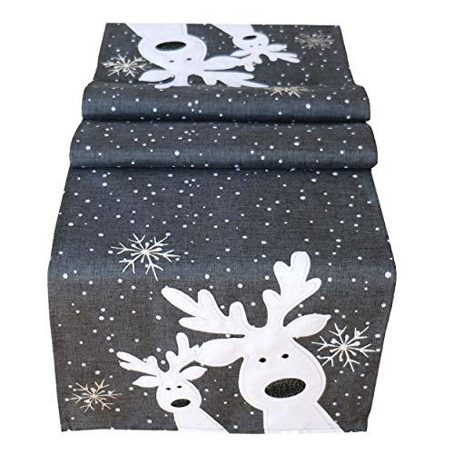 Raebel Tischdecke 85 x 85 cm Stickerei lustiger Elch dunkelgrau-bunt Weihnachten Weihnachtsdeko Weihnachtstischdecke Mitteldecke Tischdeko Tischdecke