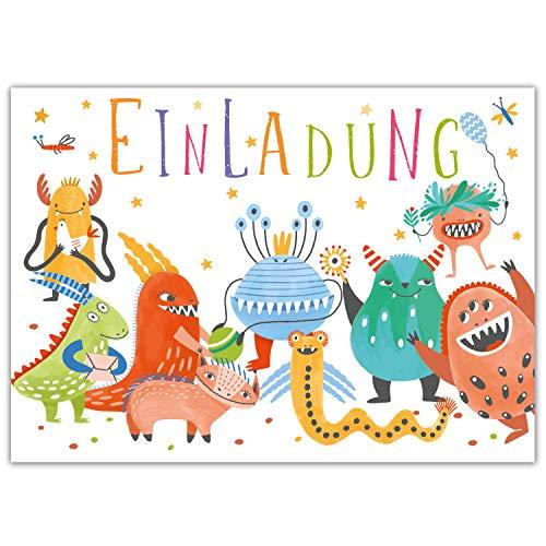 Pandawal 12x Einladungskarten Kindergeburtstag Monster Party lustige Einladung für Kinder geeignet für Mädchen und Junge Ideal für Geburtstag Ausflug Kinderparty