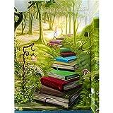 ZXDA Frameless The Forest Book Road Paisaje Pintura por números Kits para niños Principiante Pintado a Mano Regalo de Bricolaje Fotos de Pared A1 40x50cm