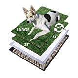 MEEXPAWS Large Dog Artificial Grass Litter Box Toilet with Tray | 34×23 inches|2 Sturdy Grass Replacement Set| Rapid Drainage |2 Pee Pads | Potty Training for Indoor use