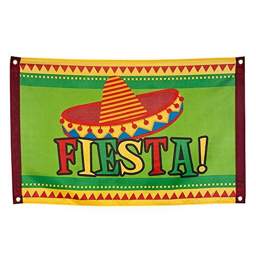 Boland 54405 - Fahne Fiesta, Größe 60 x 90 cm, Polyester, Mexiko, Banner, Wanddekoration, Hängedekoration, Kindergeburtstag, Mottoparty, Karneval