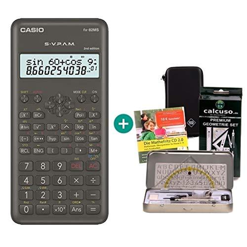 Casio FX-82MS 2 + Mathefritz CD de aprendizaje CALCUSO (alemán) + SafeCase Funda protectora SafeCase + Kit de geometría de Calcuso