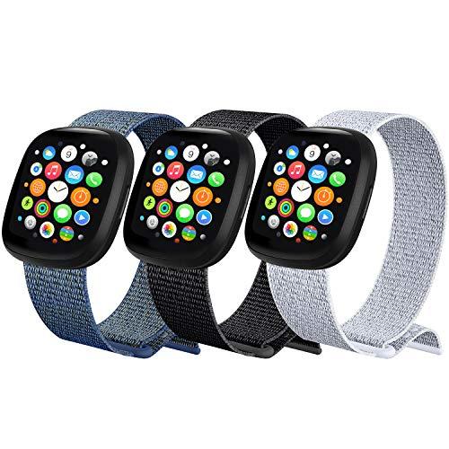 ATOO 3 Pezzi Nylon Cinturino Orologio per Apple Watch 38mm 40mm 42mm 44mm, Leggero Traspirante Cinturino di Ricambio Sportivo per iWatch SE Series 6 5 4 3 2 1