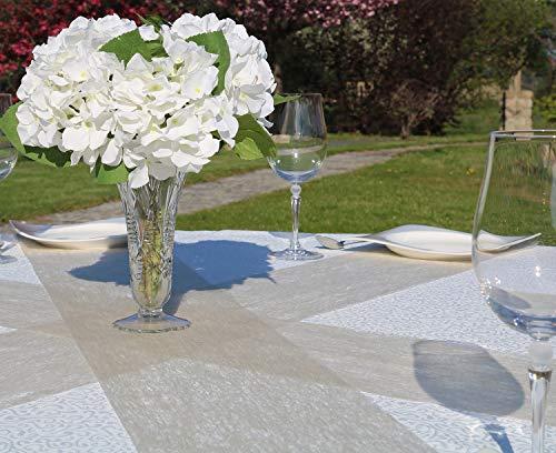 AmaCasa – Camino de mesa no tejido, cinta de mesa, no tejida, para boda, comunión, 23 cm/25 m