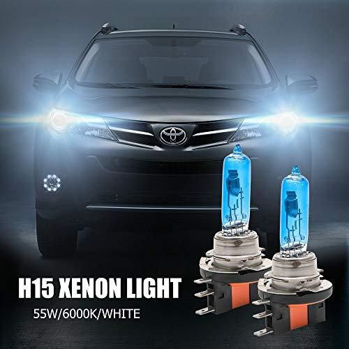 Lampadine H15, MACHSWON 2x 12V 55W Kit lampadine per fari allo xeno Lampadina alogena Super White High Low Beam