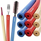 Vive Foam Tubing (9 Pack) - Utensil Padding Grips - Spoon, Fork Round Hollow Medical Closed Cell Tube - Cut to Length - Provides Wider, Larger Grip Pipe Tool for Dexterity, Disabled, Elderly