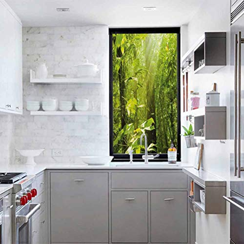 Window Film Door Sticker Glass Film 17.7 x 78.7 inches UV Blocking Heat Control Privacy Glass Stickers,Nature,Forest with Sunray Foliage Leaf Branches Woodland Eco Jungle Misty Picture,Lime Green Brow