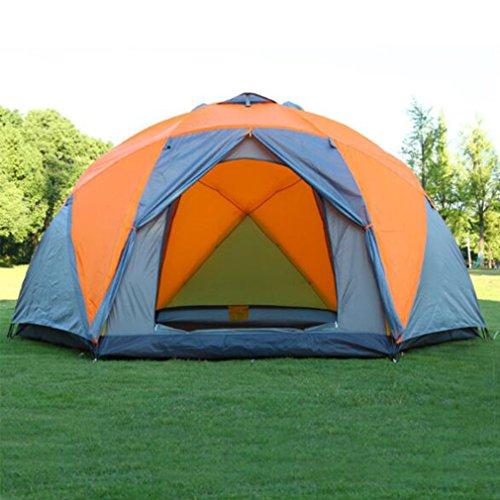 NINI Outdoor-Zelt Doppelschicht Regensicher 8-10 Menschen Winddichte Sonnencreme Outdoor-Zelt Orange Grau