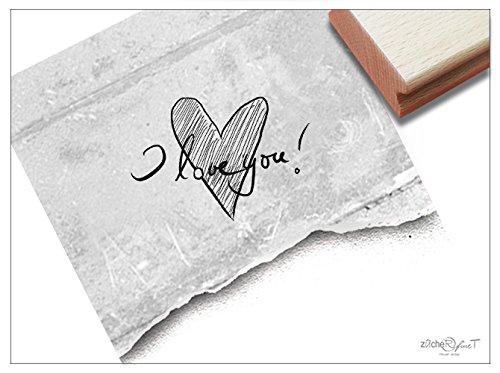 Tekststempel I Love You! zAcheR-fineT met hart, handgeschreven letterstempel, bruiloftsstempel, liefde, Valentijnsdag, trouwkaarten, cadeau-hanger
