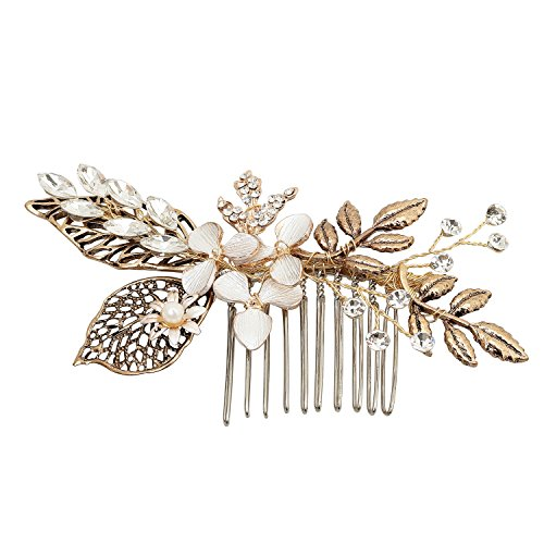Oureamod Flower Hair Combs Wedding Hair Accessories Bridal Headpiece (Vintage leaves)