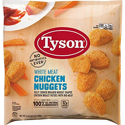 Tyson White Meat Chicken Nuggets   Frozen Fully Cooked Breaded Nuggets, All Natural, 3 Pack (15 Lbs Total)   By Gourmet Kitchn