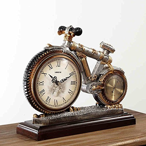 XULAN Accessoires de décoration Horloge de style européen Vintage Horloge de salon Horloge de décoration créative Horloge de table Craft avec thermomètre