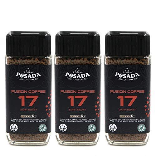La Posada - Café soluble Velvet Dark 5% micromolido y liofilizado, 3 botes de 90 g