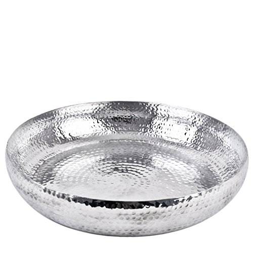 Dadeldo Schale XL rund Hammerschlag Design Metall Silber Wasserschale (9x60x60cm)