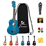 Donner DUS-10B Soprano Ukulele Ukelele Beginner Kit for Kids Students 21 Inch Rainbow with Bag, Strap,Strings, Tuner, Picks, Polishing Cloth, Blue