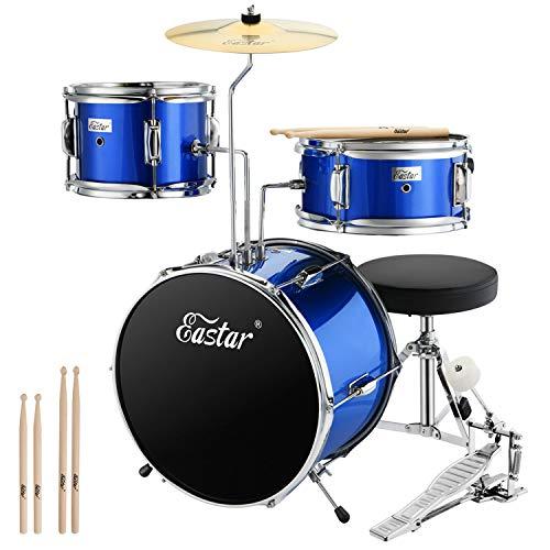 Eastar Schlagzeug Kinder 3-teilig für 3-10 Jahre, Schlagzeug Set mit Snare, Tom, Bass Drum, Bass Drum Pedal, Thron, Becken und Drumsticks, Ideale Geschenk für Kinder Teenager Anfänger, Spiegel Blau