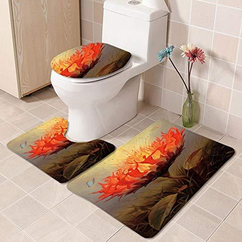 IRCATH Colorido patrón Floral Suave fácil de Instalar el baño decoración Antideslizante Manguera de Tres Piezas-C8 Alfombrilla de Baño Antideslizante Absorbente de Agua