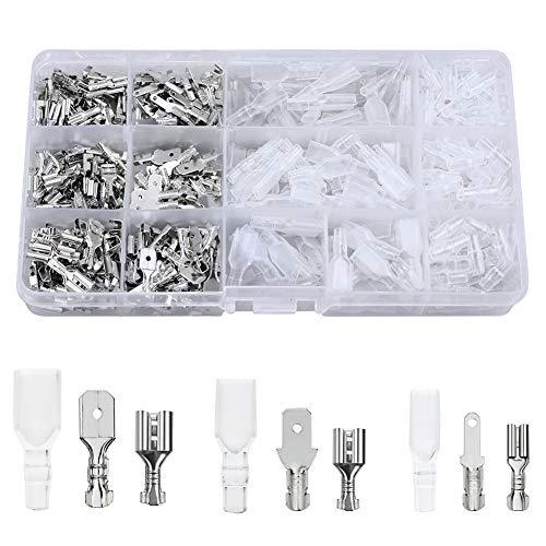 FIXITOK 480 Stücke Flachsteckhülsen Set, 2,8 mm 4,8 mm 6,3 mm Männlich Weiblich Flachstecker Spade Kabelschuhe Sleeve Terminal mit Isolierhülse Sleeve Sortiment Kit (Silber)