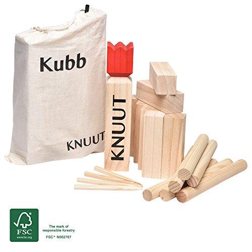 Toyfel Kubb Knuut - Jeu de quilles finlandais en bois FSC® et sac en tissu - Jeu viking - Jeux de plein air - XL - De 2 à 6 personnes