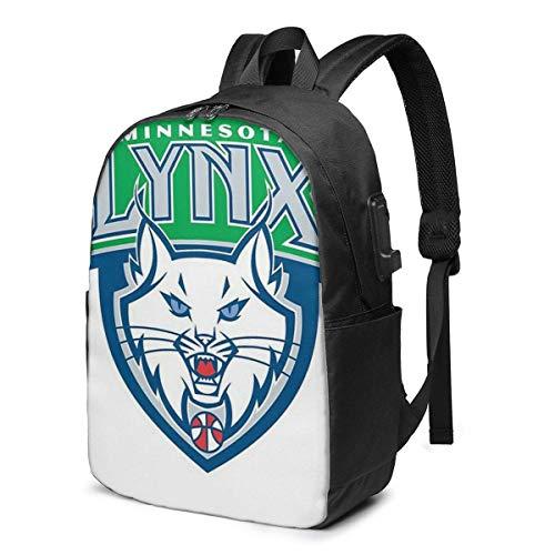 HOIH Minnesota Lynx Trendy Travel USB-Rucksack, 17-Zoll-Computer Business-Rucksäcke Studentenrucksack Casual Hiking Daypack