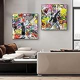 Carteles E Impresiones NiñO Graffiti Lienzo Pintura Calle Pared Arte Cuadros ImáGenes Para HabitacióN De NiñOs DecoracióN Del Hogar 50x50cmx2 Sin Marco