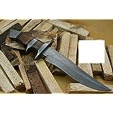 """Knife King"" Custom Damascus Knife カスタムダマスカス手作りハンティングナイフ。レザーシース。トップの品質。"