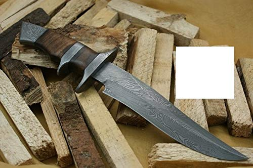 Knife King Handmade Damascus Hunting Knife - Walnut Wood Handle-13.25' Fixed Blade Knife with Leather Sheath-Master Quality EDC Survival Knife-Camping Knife Ideal Gift for Men and Women