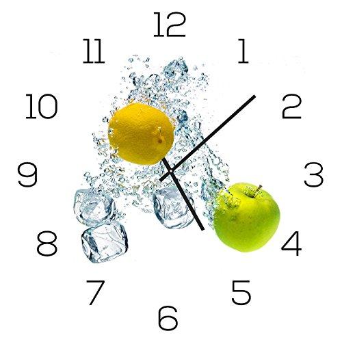 levandeo Wanduhr Alu-Dibond 30x30cm Uhr Alubild Apfel Zitrone Deko Aluminium Küchendeko Küchenuhr Einrichtung