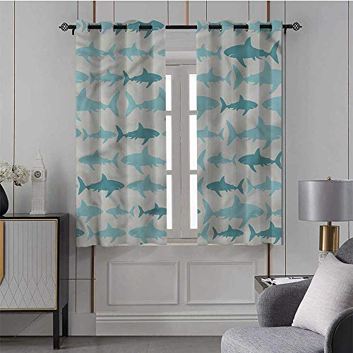 Youdeem-tablecloth Sea Animals, Blackout Window Curtain Panels Swimming Sharks in Sea Energy Smart & Noise Blocking, Set of 2 Panels (42 x 63 Inch)
