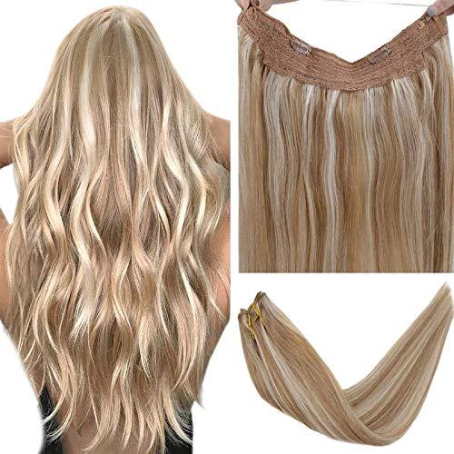 LaaVoo 100% Remy Human Hair Easy Halo Hair Extensions Echthaar Hell Goldbraun Hervorheben mit Hellblond Wire in Extensions Haarverlangerung mit Draht 14 Zoll 80g/Paket