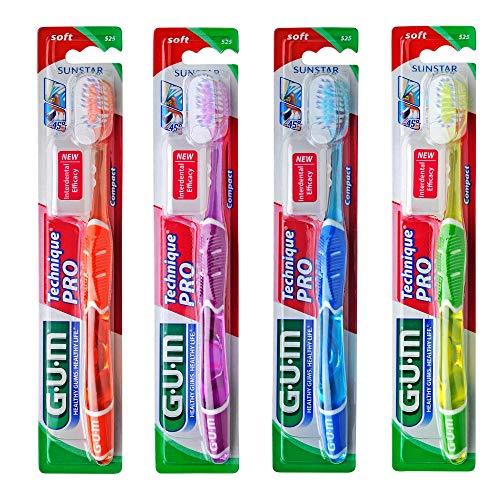 GUM Technique PRO Zahnbürste Kompakt weich / Mikrofeine Borsten-Enden für eine gründliche und schonende Plaqueentfernung im Zahnzwischenraum und unter dem Zahnfleischrand / 4 Stück