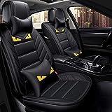 SAMER Car Seat Covers Set Completo - Prima de Cuero de imitación Delanteras del automóvil y Protectores de Espalda del Asiento - Ajusta a la mayoría del Coche camión de Van SUV (Color: Rojo)