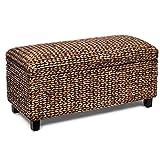 BIRDROCK HOME Storage Ottoman Bench - Bed Storage Trunk - Espresso Bench - Chest - Safety Hinges (Brown Wash)