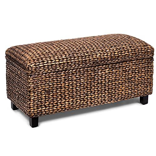 BIRDROCK HOME Storage Ottoman Bench - Bed Storage Trunk - Espresso Bench - Chest - Safety Hinges...