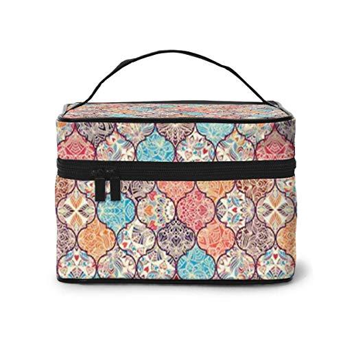 Neceser de maquillaje de patchwork, estilo turco, portátil, de viaje, organizador multifunción, con doble cremallera, bolsa de aseo para mujer (9 x 6,2 x 6,5 pulgadas)