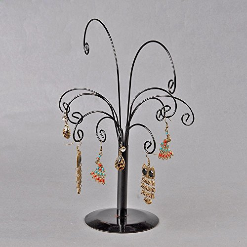 Unique Design Frame Earrings Stand Black Display Tree-Shaped Rack Iron
