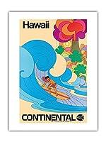 ハワイ - コンチネンタル航空 - ハワイのサーファー - サイケデリックフラワーパワーアート - ビンテージな航空会社のポスター c.1960s - アートポスター - 46cm x 61cm
