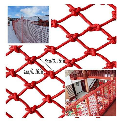 Sicherheitsnetz für Kinder, Tierbedarf Rotes Nylon-Sicherheitsnetz, Kindertreppe Bruchsicheres Netz Balkonschutznetz Rotes Dekoratives Netz Haustier-Absperrnetz Wandtrennnetz (Spezifikation: 4 Mm Seil