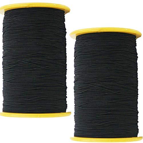 TIHOOD 2PCS 0.5mm Thickness 547 Yard Elastic Thread Black