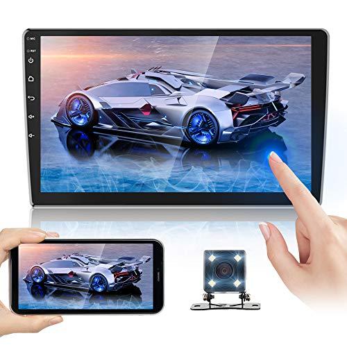 Doppel Din Autoradioempfänger 10,1 Zoll 2,5 D HD, Android 8,1 Touchscreen MP5 Multimedia, Unterstützung GPS-Navigation Bluetooth FM Radio + 4 LED-Leuchten Rückfahrkamera & Dual Mirror Link & Subwoofer