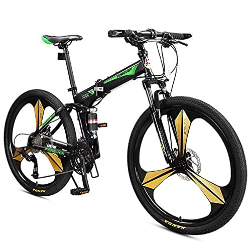 Mens And Womens Mountain Bike, 26-Inch Wheels, 27-Speed Shifters, Aluminum Frame, Front Suspension(Color:Green)