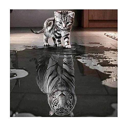 Puzzles für Erwachsene, Katze und Tiger DIY 5D Diamant Stickerei Malerei Kreuzstich Home Decor Craft Eaylis