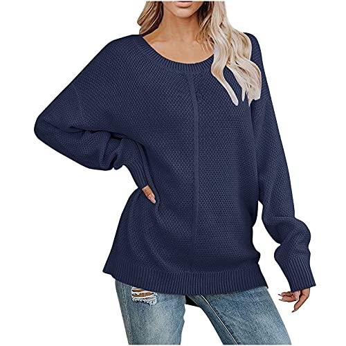 Oversized Knit Fall Sweaters Women Long Sleeve Crewneck Fashion Pullover Sweatshirts Juniors Casual Elegant Soft Tops Blue