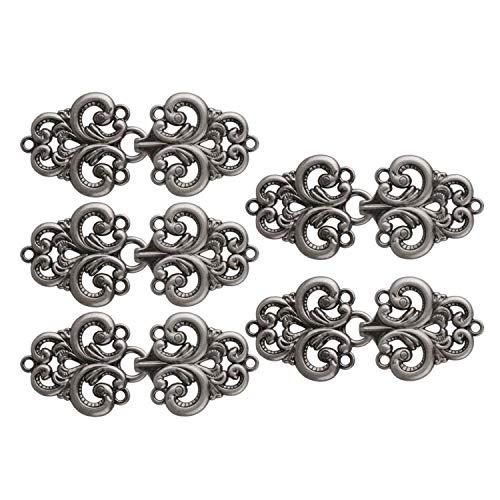 5 pares Botones de nudo chino Remolino Forma de flor Botón de rana Vestido de Cheongsam Abrigo Broche Cierres Cardigan Clip Botones de costura, Gris, Talla única